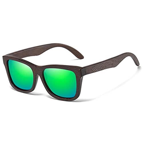 UKKO Gafas de Sol Hombre Gafas De Sol De Madera De Bambú Natural Espejo Polarizado Hecho A Mano para Lentes De Revestimiento Gafas con Caja De Regalo