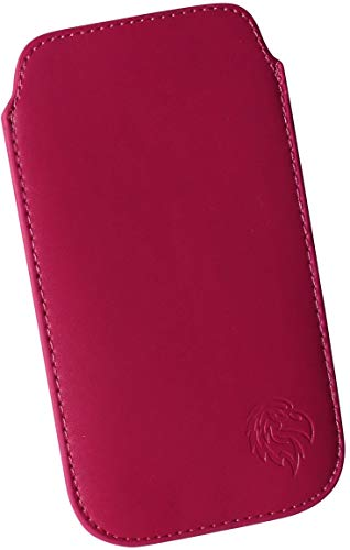 Dealbude24 Schutz Tasche für Xiaomi Redmi Note 8/8 Pro, Hülle Handy herausziehbar, dünnes Etui genäht mit Rausziehband, innen weiches Microfaser mit exklusiv Adler Motiv XXL Dunkel-Pink