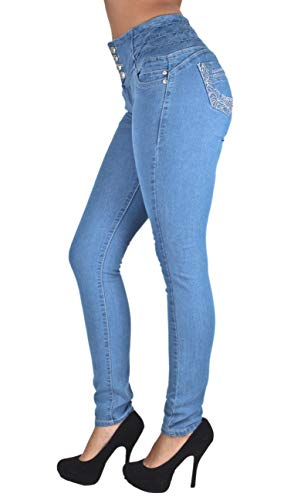 Colombian Design, Butt Lift, Elastic Waist, Sexy Skinny Jeans in Blue Size 17
