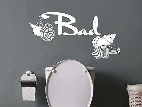 GRAZDesign Wandtattoo Badezimmer Schriftzug Bad, Maritime Dekoration mit Muscheln, Wandtattoo Türaufkleber/Aufkleber im Duschbereich / 59x30cm / 070 schwarz