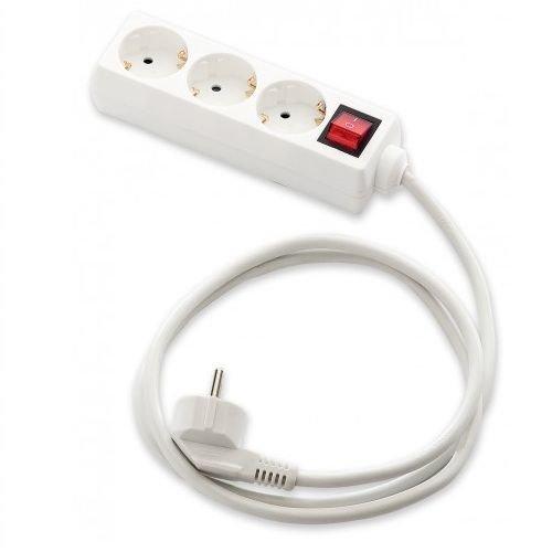 Base de Enchufe 3 Tomas con Interruptor 1.8 Metros Blanco, Cablepelado