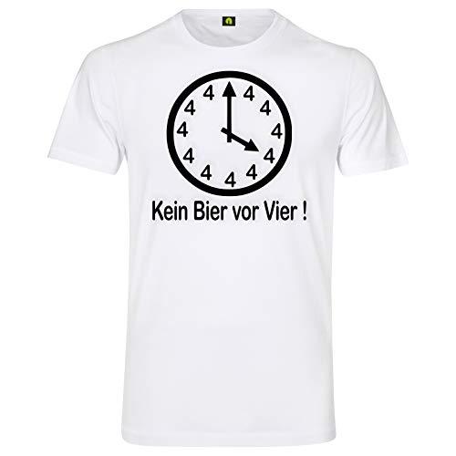 Kein Bier Vor Vier T-Shirt | Alkohol | Saufen | Uhr | Zeiger | 4 | Beer | Weizen Weiß S