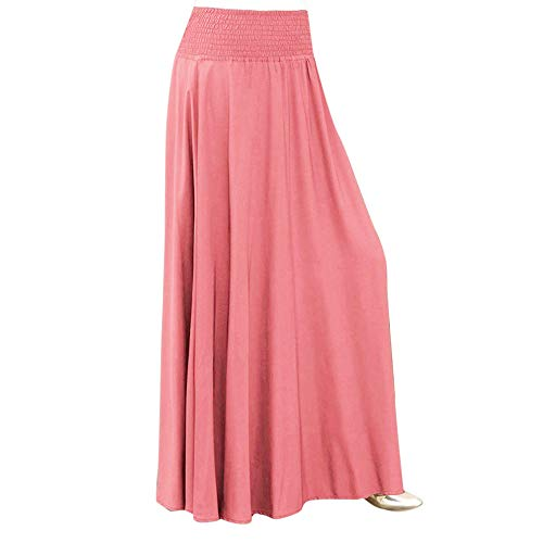 Skirt for Women Vintage Elastic Waist Solid Color Loose Pleated Maxi Long Swing Skirt (M, Pink)