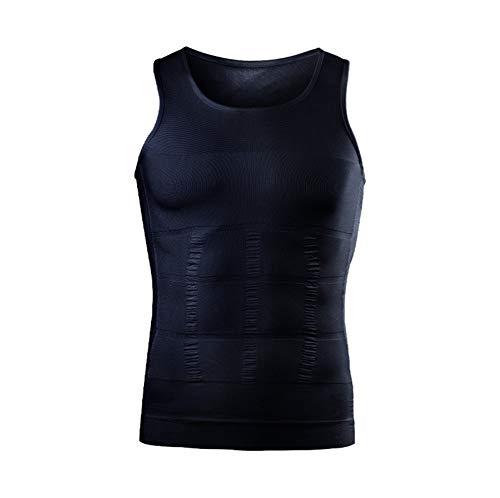 Elwow Gilet da uomo senza cuciture per sauna e allenamento per la perdita di peso, aiuta a bruciare i grassi e controllare la pancia (nero, S)