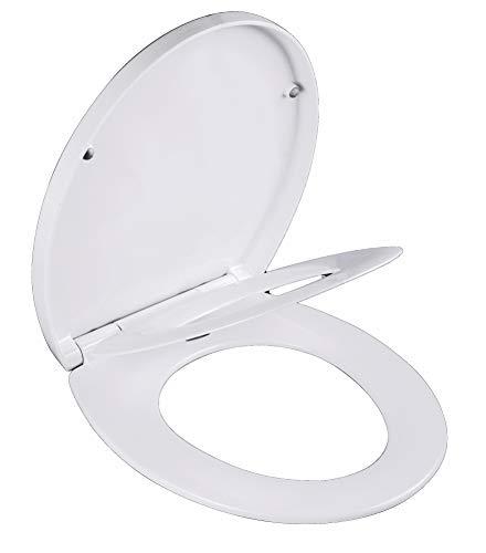 Grünblatt High-End Duroplast WC Sitz 515064 O-Form für Familien mit Kinder, 3-Fach Absenkautomatik, Toilettendeckel Klobrille Toilettensitz abnehmbar zur Reinigung