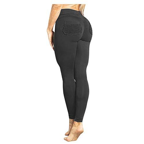 JQq Pushup Leggings Damen Jogginghose Sexy Kleidung Damen Cellulite Leggings Frauen Fitness Übung Stretch Hohe Taille Skinny Sexy Saugtasche Yogahosen(Schwarz,XL)