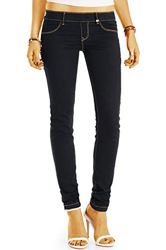 bestyledberlin Damen Baumwoll Stoffhose, Skinny Fit Stretch Hose, Denim Leggings j18l 38/M