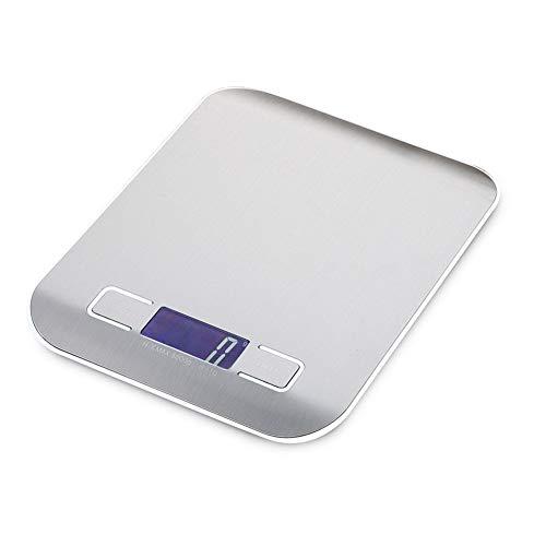 pzcvo BáScula De PrecisióN Bascula De Cocina Digital de Cocina Escala de Miligramo de Escala Escala de precisión Nutrición Escala Balanza de Cocina Digital Metallic White, 5kg1g