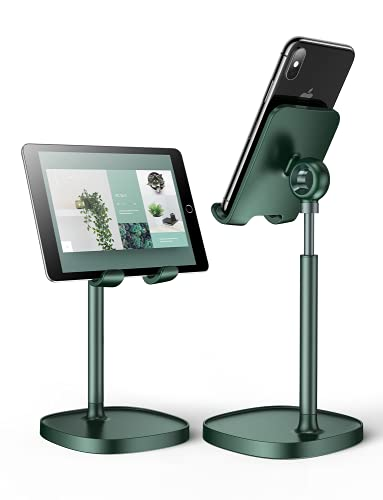 """LISEN Desktop Phone Stand, Taller Cell Phone Stand Free Your Neck, Angle Height Adjustable iPhone Stand for Desk Compatible with All 4-10"""" Tablets & Phones-(Green)"""