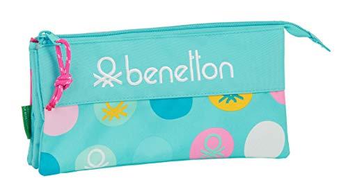 safta 812051744 Estuche portatodo Triple Escolar Benetton, Azul