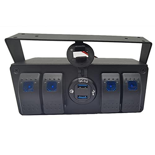 Coairrwy Panel de Interruptor Basculante de 4 Bandas con Cargador USB 3.0 de Carga RáPida y VoltíMetro, VehíCulos Marinos, Camiones, Coche, 12 V-24 V
