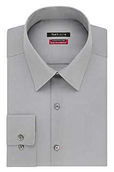 Van Heusen mens Slim Fit Flex Collar Stretch Solid Dress Shirt Grey Mist 15.5 Neck 32 -33 Sleeve Medium US