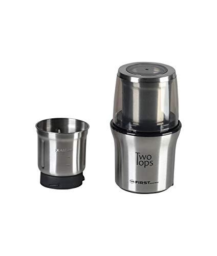 TZS First Austria elektrische Kaffeemühle Gewürzmühle Zerkleinerer für Kaffeebohnen, Nüsse, Gewürze, Gemüse, 2 abnehmbare Edelstahlbehälter mit 2 Klingen, Edelstahl, Schwarz 200 Watt