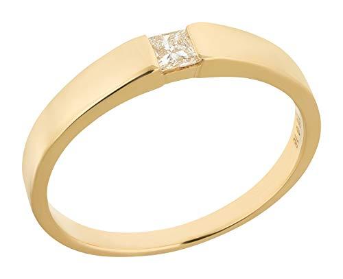 Ardeo Aurum Damenring aus 375 Gold Gelbgold mit 0,18 ct Diamant Princess-Schliff Spannfassung Solitär Verlobungsring