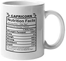 Capricorn Nutrition Facts Coffee Mug Funny Motivation Inspiration 11 ounce White Novelty Ceramic product image