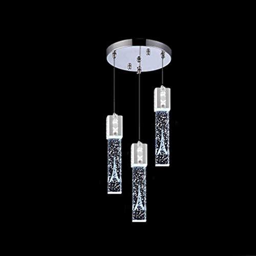 SWNN Luz de Techo Lámpara Colgante LED Cristal Aluminio Creativo Romántico Cromo Acero Inoxidable Altura Ajustable 15 W Comedor Blanco