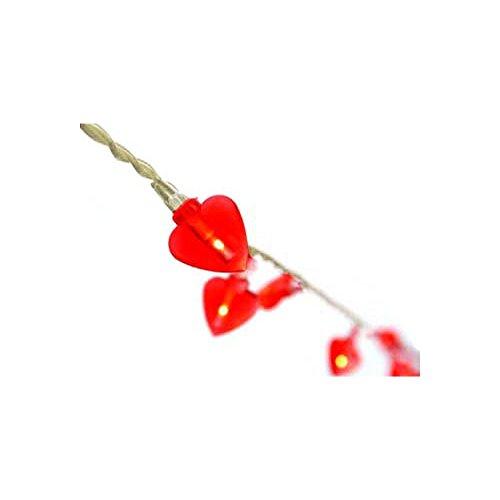 HAB & GUT -L006-R- LED Lichterkette, 40 rote transparente Herzen, Kabellänge: 5 Meter, 220V Partylicht Love Hearts, Indoor Dekolicht