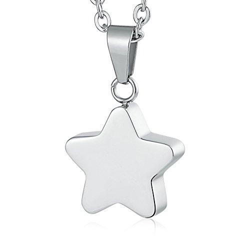 AmDxD Acero Inoxidable Colgante Cenizas Collares de Urna para Cenizas Estrella Collar Urna
