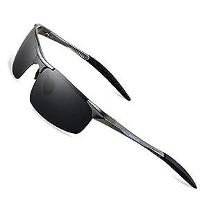 Ronsou メンズ スポーツ偏光サングラス UV保護 超軽量 Al Mg サングラス 運転 釣り ゴルフ グレーフレーム