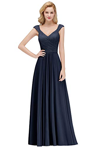 Damen A-Linie Spitzen Abiballkleid Abschlusskleid Applique Rückenfrei lang Navy Blau 38