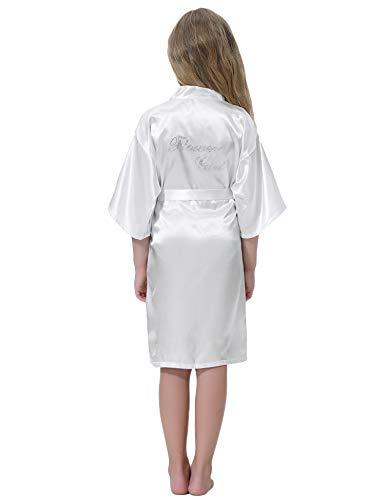 Aibrou Bata Satén Kimono Niñas Flores Bata de Boda Albornoz Camisón Seda Ropa de Dormir/natación/cumpleaños/Vestido de Boda