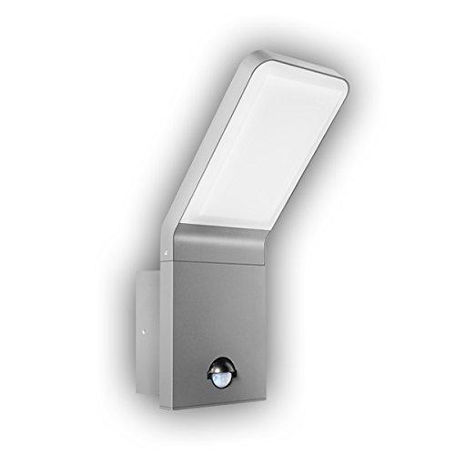 GEV buitenlamp LED-buitenwandlamp met bewegingsmelder, lamp Nina, 90 graden, schemerschakelaar, wandlamp, aluminium, 10 W, zilvergrijs, huisdeurverlichting, 9.5, 16,5 x 10 x 25,6 cm