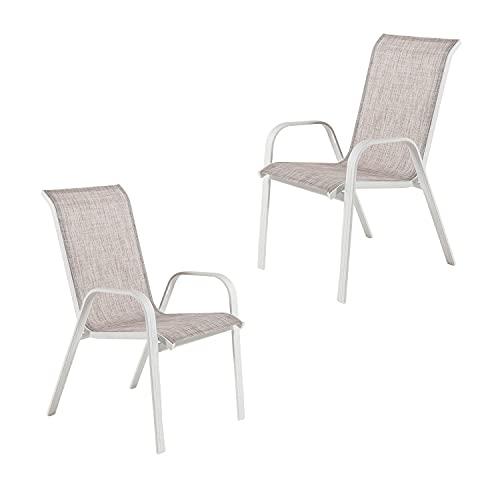 Edenjardi Pack 2 sillones de terraza apilable, Tamaño: 57x74x96,5 cm, Aluminio Reforzado Color Blanco y textilene Liso de Color Gris