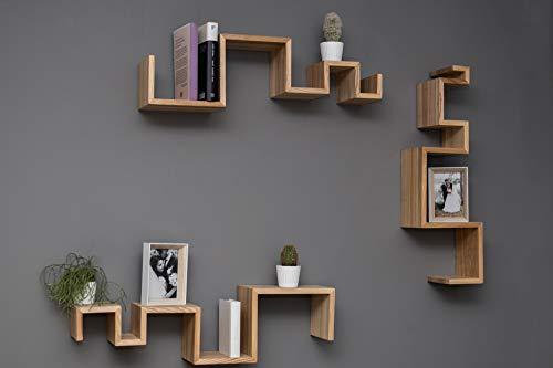 EWART WOODS Estantes colgantes de pared de madera estantes de madera geométrica estantes de madera estante flotante moderno estante hecho a mano muebles estante conjunto de 3