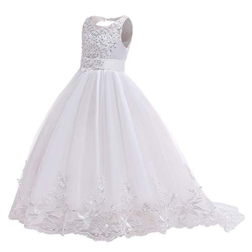 Riou Mädchen Kinder Hochzeitkleider Lang Elegant Ärmellos Spitze Smoking Tüll Prinzessin Kleid für Festlich Geburtstag Party Abend Festzug...