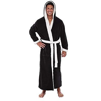 Fiaya Men's Winter Warm Hooded Long Sleeve Lengthened Plush Dressing Gown Shawl Kimono Bathrobe Robe Coat Home Clothes