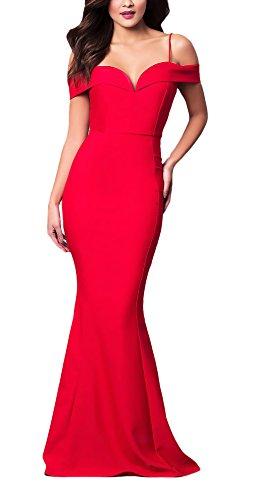 Vestidos Largos De Fiesta para Bodas Mujer Elegantes Modernas Casual Sin Hombro Slim Fashion Bonita Vestidos De Novia Vestido Coctel Vestido Largo Fiesta (Color : Rojo, Size : M)