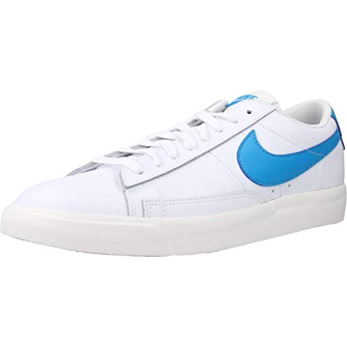 Nike Blazer Low Leather, Scarpe da Basket Uomo, White/Laser Blue-Sail, 43 EU