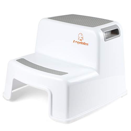 Angelbliss Taburete con doble escalón para niños, diseño de dos escalones con agarraderas suaves, taburete para niños pequeños en el baño o la cocina (paquete de 1 blanco)