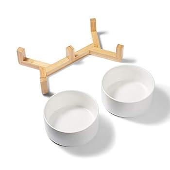 Supremery Lot de 2 gamelles rondes en céramique avec support en bambou pour chat et chien Couleurs pastel