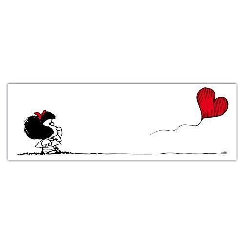 Pintura Mafalda - Mafalda Ve a Donde tu corazón te lleve - Impresión en Pintura en edición Limitada - montado en Marco de Madera - Listo para Colgar - Made in Italy (90x30)