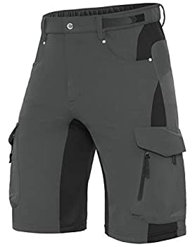 XKTTAC Men s Outdoor Quick Dry Lightweight Stretchy Shorts for Hiking Tactical Camping Travel with 6 Pockets  Dark Grey XXX-Large