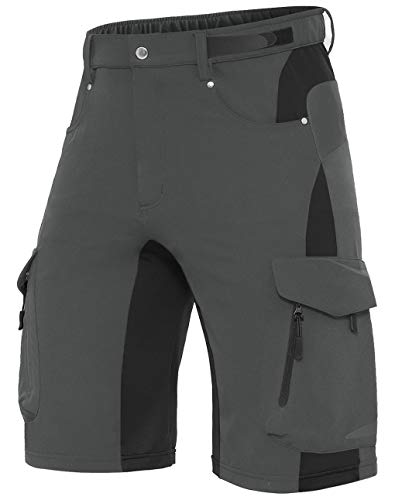XKTTAC Men's Outdoor Quick Dry Lightweight Stretchy Shorts for Hiking, Tactical, Camping, Travel with 6 Pockets (Dark Grey, X-Large)