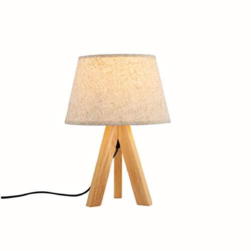 Fevilady Lámpara de mesa de madera maciza nórdica, lámpara de mesita de noche simple de tela, lámpara de dormitorio, luz E27, regulable, lámpara de mesita de noche para dormitorio o salón