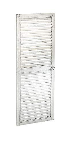 Kobolo Deko-Fensterladen Zier-Fensterladen Tür mit Lamellen - 35x90 cm - Vintage - weiß