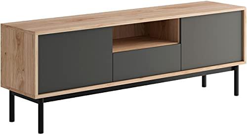 WFL GROUP Mueble de TV Noda - 154 cm - 60' - Grafito Gris - Hickory Jackson - Color Madera, Moderno, Industrial - Soporte de TV Independiente