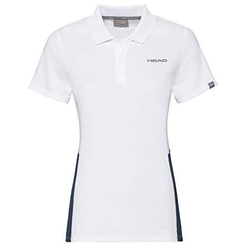 HEAD Damen Club Tech Polo Shirt W Polos, White/darkblue, XXX-Large