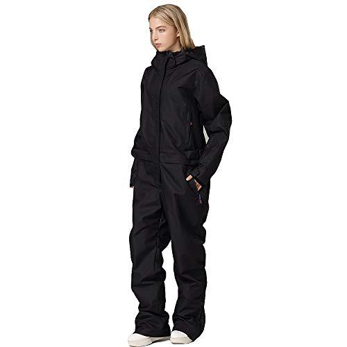 CSYY-YJ One-Piece Skianzug Männer und Frauen Mountain Ski Jacket + Snowboard Pants Women wasserdichte Winter-warme Schnee-Overall,Schwarz,M