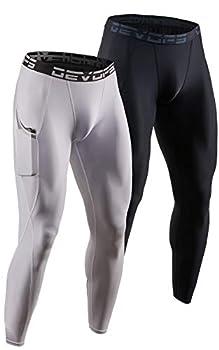 DEVOPS 2 Pack Men s Compression Pants Athletic Leggings with Pocket  Medium Black/White