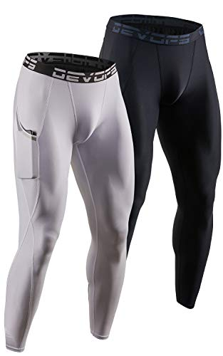 DEVOPS 2 Pack Men's Compression Pants Athletic Leggings with Pocket (Large, Black/White)