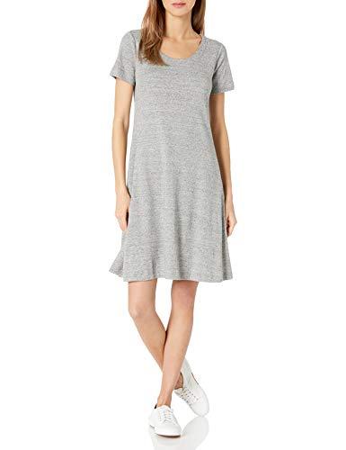 Amazon Brand - Daily Ritual Women's Pima Cotton and Modal Short-Sleeve Scoop Neck Dress, Heather Grey Spacedye, X-Small