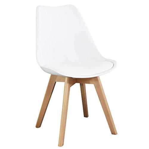 Milani Home s.r.l.s. Sedia Moderna di Design Imbottita Bianca con Gambe in Legno per Sala da Pranzo Cucina Ufficio