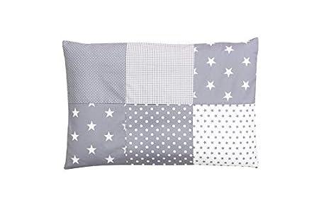 Funda de almohada para bebé de ULLENBOOM ® de 40x60 cm con estrellas grises (con cremallera; apta también para cojines decorativos; dibujo:patchwork)