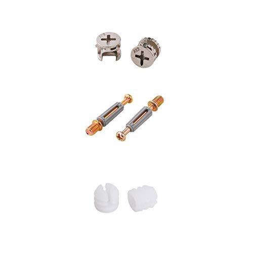 LOOTICH Connettore Eccentrico Raccordi a Camme Ø11,8mm con Tasselli M6x41mm e Dadi Pre-inseriti M6 per il Collegamento del Pannello del Mobiletto Mobili Grigio (Set da 100)