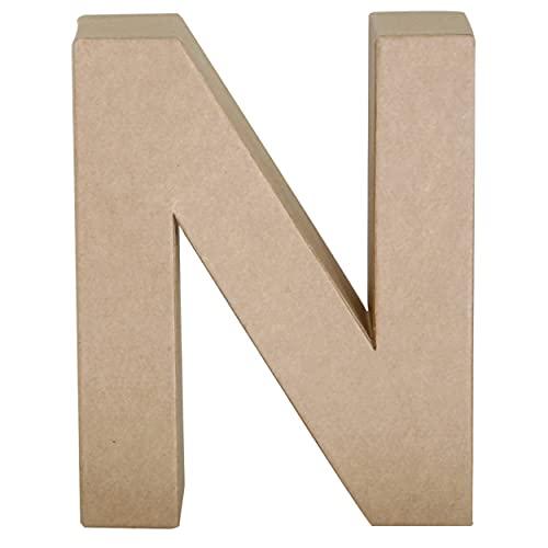 Papier Mache Paper Mache Letter N, 7' Size, Brown