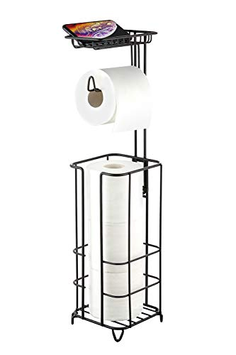 zccz Toilet Paper Holder Stand Free Standing Bathroom Toilet Tissue Paper Roll Holder with Shelf for Cell Phone Wipe Mega Rolls, Black